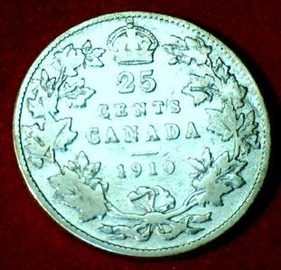 1910 King Edward VII Canada Silver 25 Cent Quarter