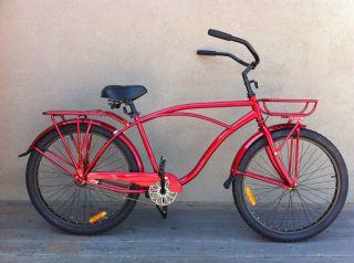 26 Custom Classic Beach Cruiser Bike Mans Red Racks Fenders Alloy