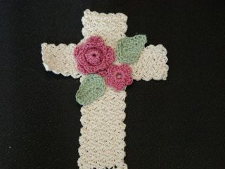 Original Crochet Pattern Floral Cross Bookmark
