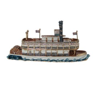Riverboat Trinket Jewelry Box Cruise SHIP Boat Blue Brown Bejeweled L