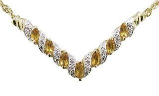 Ct Marquis Cut Natural Citrine Diamond Necklace