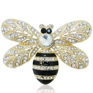 Sweet Bee Honeybee Brooch Rhinestone Crystal Clear Insect Pin