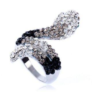ARINNA Cute Jet Snake Cocktail Fashion Ring 18K White GP Swarovski