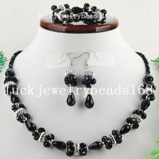 Black Crystal Drop Necklace Bracelet Earrings Set FG3906