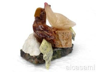 Miniature Couple of Parrots Stone Sculpture Handcarved