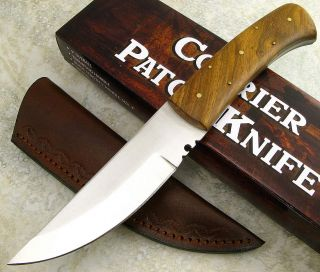 Courier Full Tang Wood Handle Fixed Straight Back Blade Patch Knife
