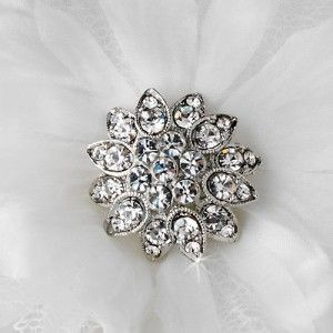 Beautiful White Crystal Accented Flower Hair Clip