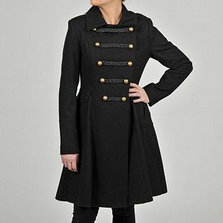 NEW LADIES TAHARI COURTNEY DOUBLE BREASTED MILITARY WOOL BLEND COAT SZ