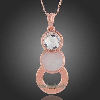 18k rose gold gp Swarovski crystal &shell fashion necklace N174