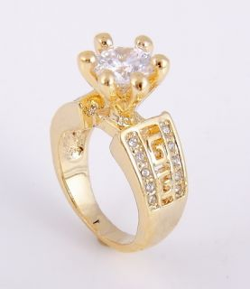 Incredible Set CZ Glamour Gold Plated Ring Sz 7 Dangle Earrings WOW