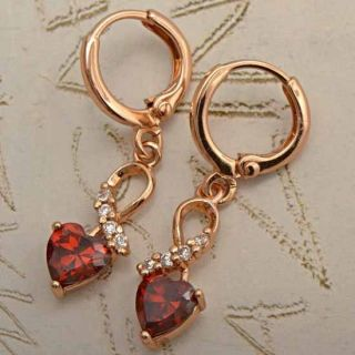 Unique 9K Rose Gold Filled CZ Ruby Heart Earrings X153