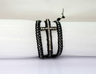 Hematite Beads Crystal Stone Cross Charm Leather Wrap Bracelet