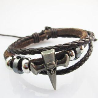 Hemp Leather Handmade Cross Skull Bracelet Wristband Cuff Cool Special