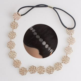 Fashion New Gold Lovely Chain Hollow Out Rose Flower Hair Band