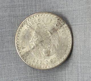 Mexico 1948 Cuauhtemoc 90 Silver Cinco Pesos Coin