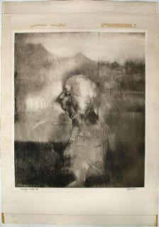 John Paul Jones Large Signed Original Modernist Etching Landscape