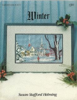 Winter Cross Stitch Chart Village Church Snowy Scene