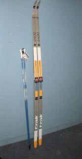 Trak T2400 215cm Cross Country Skis w Salomon Bindings Exel Poles Make