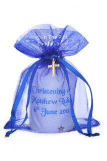 Personalised Christening Favour Candles Gold Cross Gift