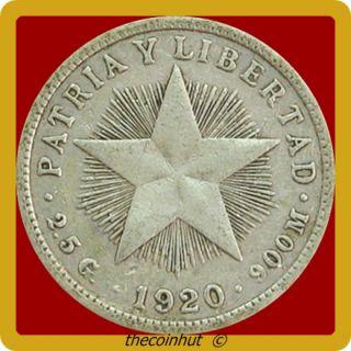 1920 Silver Cuba Diez Centavos World Coin COINHUT3703