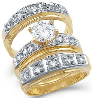 CZ Engagement Ring Wedding Bands 14k Yellow Gold Bridal 1 75 Carat
