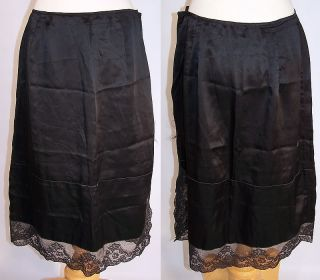 Vintage 1940s Black Silk Chantilly Lace Lingerie Negligee Half Slip