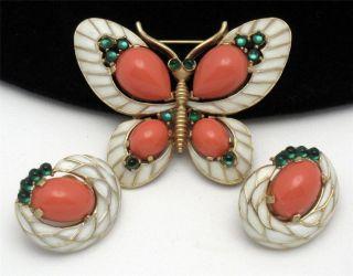 Crown Trifari Vintage LOrient Butterfly Brooch Earring Set Lucite