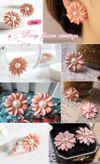 New Lovely Cute Pink Daisy Flower with Pearl Stud Earrings
