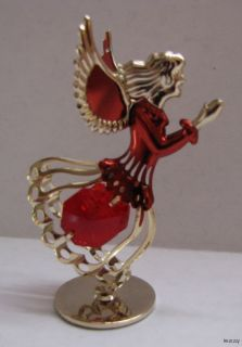 Exotic Ruby Red Swarovski Crystal Angel Figurine Mini
