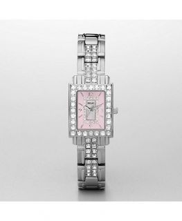 Tone s Steel Square Pink Dial Crystal Womens Watch ZR11838 New