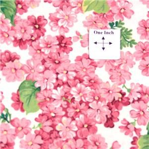 Cranston Cotton Fabric Bright Pink Cherry Blossom Flowers on White by