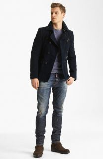 Dsquared2 Double Breasted Peacoat, Crewneck Sweater & Slim Fit Jeans