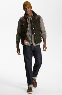 Penfield Down Vest, Marshall Artist Shirt, Splendid Sweatshirt & Levis Straight Leg Jeans