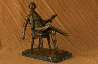Signed Original Young Mozart Bronze Sculpture Marble Base Statue LARGE