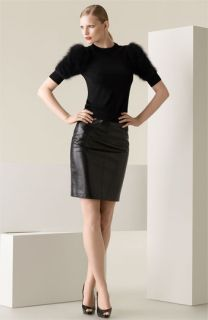 Michael Kors Puff Sleeve Sweater & Leather Skirt