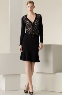 Michael Kors Beaded Leopard Lace Cardigan & Stretch Wool Crepe Skirt