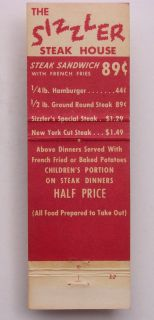 1960s Matchbook Sizzler Steak House Culver City CA MB