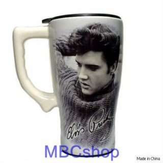 Elvis Presley Ceramic Coffee Travel Mugs Plastic Lid FS