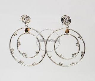 Damiani 18K White Gold Diamond Double Circle Earrings