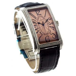 Cuervo Y Sobrinos Prominente Automatic Watch Rose Dial Diamond Bezel