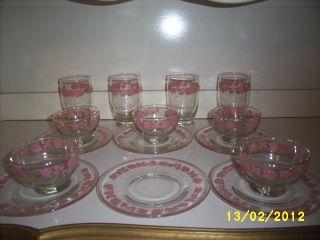 15 PC. PYREX PINK GOOSEBERRY SET (GLASSES, SHERBETS, PLATES)