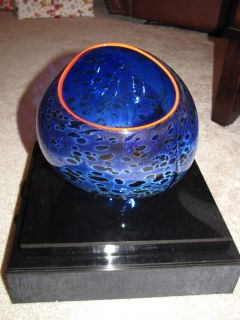 Dale Chihuly Original Basket Glass Signed Painted Book Display Case