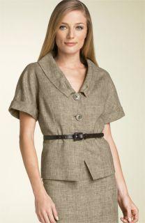 Lafayette 148 New York Elise Crop Jacket with Skinny Belt