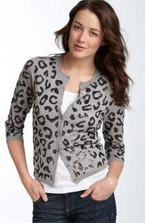 Halogen® Sequin Leopard Print Cardigan