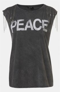 Topshop Peace Chain Embellished Graphic Tee