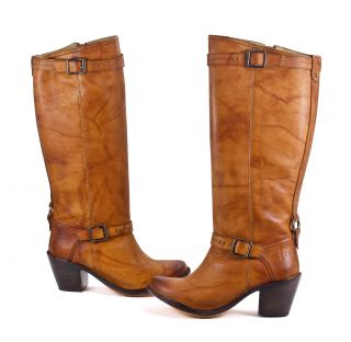 Frye Carmen Leather Saddle Brown Inside Zip Knee High Boot Shoes 7 5