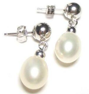 aaa white pearl 14k white gold dangle post earrings