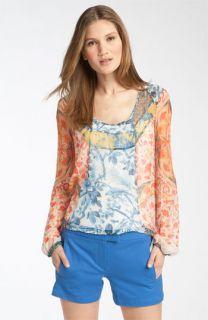 BCBGMAXAZRIA Mixed Print Silk Blouse