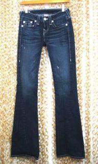 True Religion Womens Dani Dark Twisted Seam Flare Flap Pocket Jeans Sz