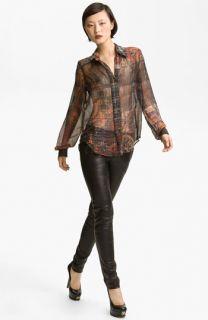 LAGENCE Plaid Print Silk Blouse